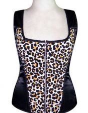 Corsé sexy de leopardo con tirantes anchos, especial talla grande CDL00004