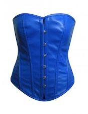 Elegante y sexy corset azul de piel especial tallas grandes CDL00012