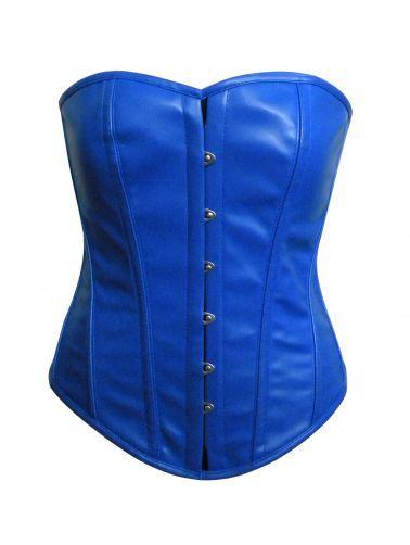 Elegante y sexy corset azul de piel