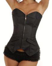 Elegante conjunto de corsé sexy y falda de rayas diplomáticas CYC00240