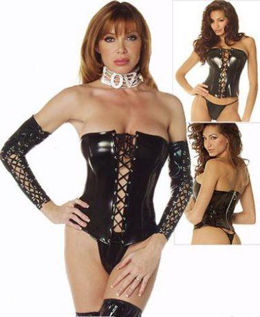 Sugerente corset de vinilo con lazada delantera y cremallera por detrás