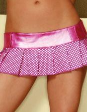 Falda sexy corta plisada de tejido satinado con lunares y cintura metalizada FAL00003