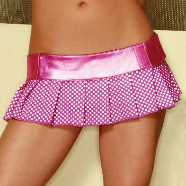 Falda sexy corta plisada de tejido satinado con lunares y cintura metalizada