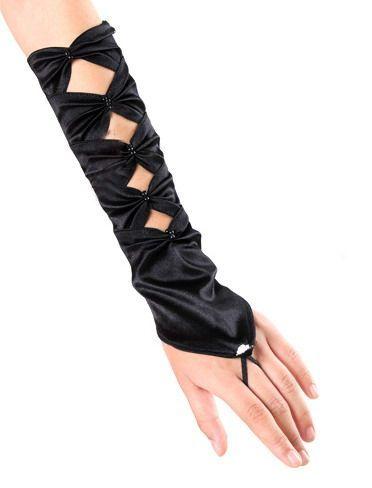 Guantes sexys de tejido satinado cogidos al dedo anular con aberturas