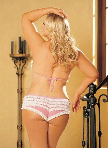 Conjunto sexy de sujetador y culotte de volantes en blanco y rosa