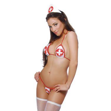 Sugerente disfraz de enfermera traviesa de vinilo
