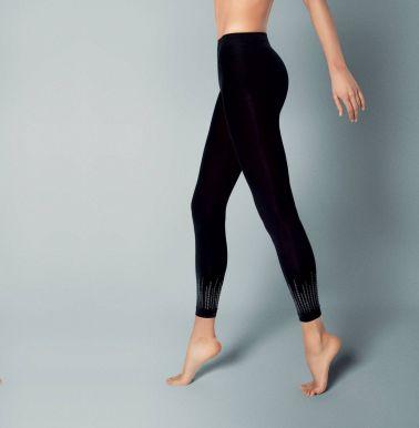 Medias tipo Leggins sexys de tejido elástico con detalles brillantes en la parte del tobillo