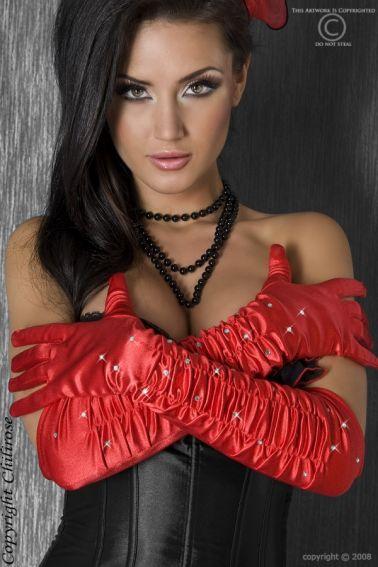 Sofisticados guantes sexys rojos con strass
