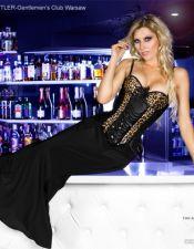 Elegante falda sexy larga negra de tejido elástico FAL00015