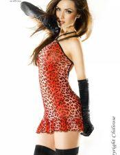 Exótico vestido sexy con estampados de leopardo rojo degradado VES00147