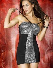 Original mini vestido sexy palabra de honor plateado y negro VES00149