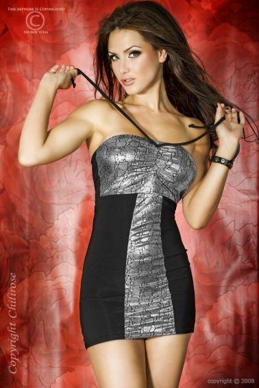 Original mini vestido sexy palabra de honor plateado y negro