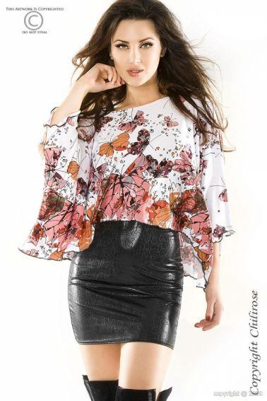 Original camiseta de mangas anchas con mariposas
