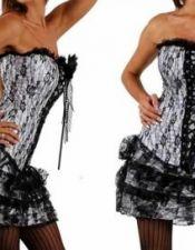Vestido sexy estilo corset con falda Vintage con encaje superpuesto, disponible para tallas grandes VES00154