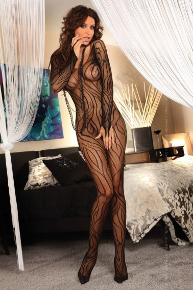 Original Body sexy stocking de red con estampados de ramificaciones y mangas largas
