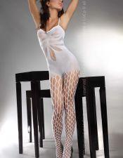 Bodystocking sexy de tirantes con agujeros en las piernas BDS00117