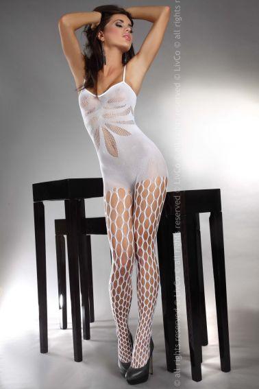 Bodystocking sexy de tirantes con agujeros en las piernas