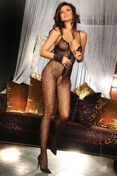Body sexy entero de red con agujeros y cremallera