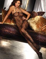 Body sexy stocking con estampados florales y escote recto BDS00123