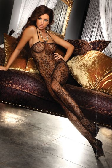 Body sexy stocking con estampados florales y escote recto