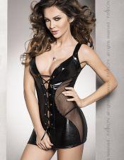 Vestido de vinilo sexy con transparencias, también para tallas grandes VES00157