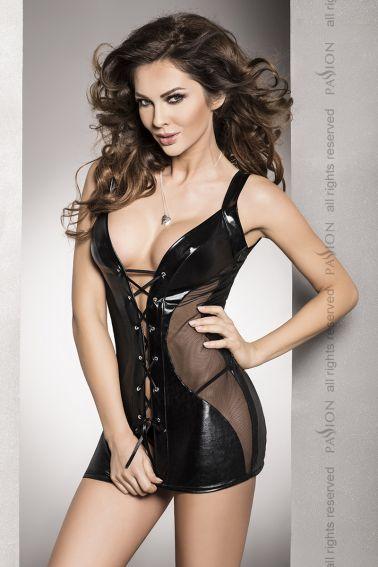 Vestido de vinilo sexy con transparencias