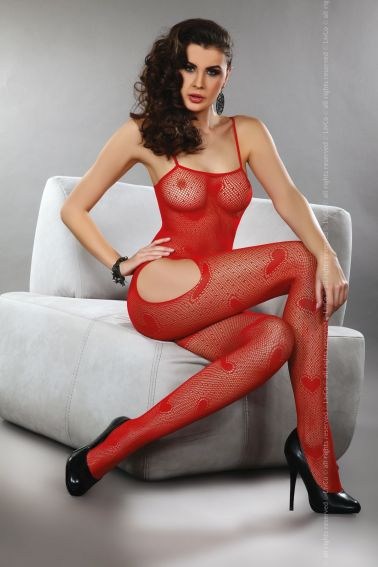 Original body sexy stocking de red con corazones