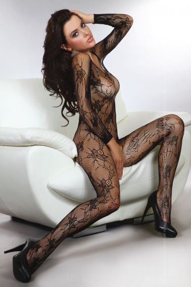 Body sexy stocking de mangas largas con estampados florales