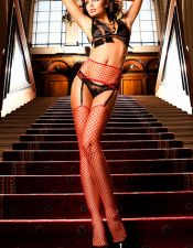 Ropa interior femenina: Conjunto de liguero y medias sexys de red MED00122