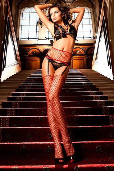 Ropa interior femenina: Conjunto de liguero y medias sexys de red