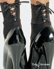 Calcetines negros con ribete de encaje MED00129