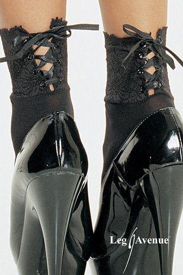 Calcetines negros con ribete de encaje