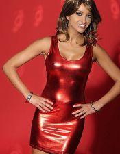 Vestido rojo efecto mojado PLC00065