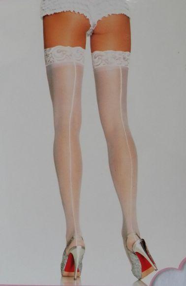 Medias sexys lisas con costura color blanco de talla grande