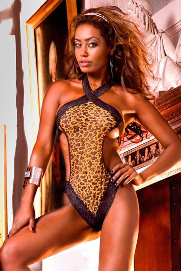 Body de leopardo con encaje y transparencias