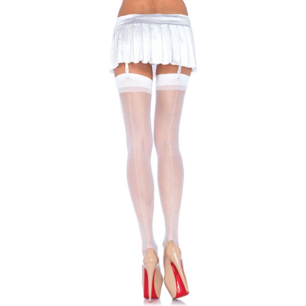 Medias sexys blancas transparentes de tiro alto con costura trasera