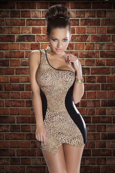 Vestido sexy de leopardo con vinilo negro