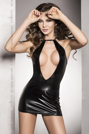 Vestido sexy de latex con escote pronunciado