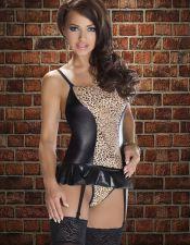 Corset sexy de leopardo con vinilo negro, también en talla grande CYC00263