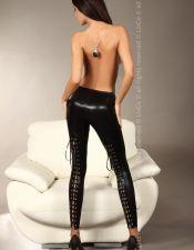 Leggins sexys de latex negro con tiras cruzadas por detrás LEG00033