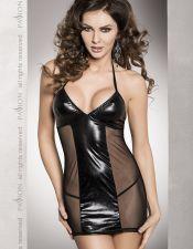 Vestido negro de latex sexy con transparencias PLC00071