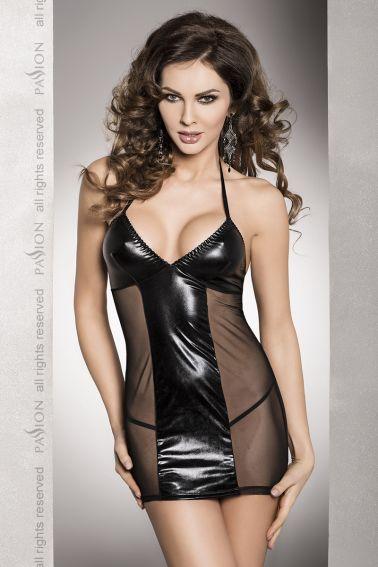 Vestido negro de latex sexy con transparencias