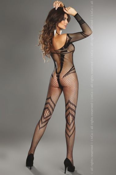Bodystocking de red sexy con mangas largas y escote barco