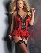 Espectacular conjunto Sexy de dos piezas con tanga liguero de blonda Rojo y Negro CON00300