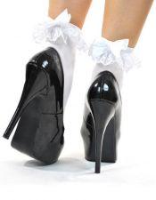 Calcetines blancos con volante decorativo y lazo MED00148
