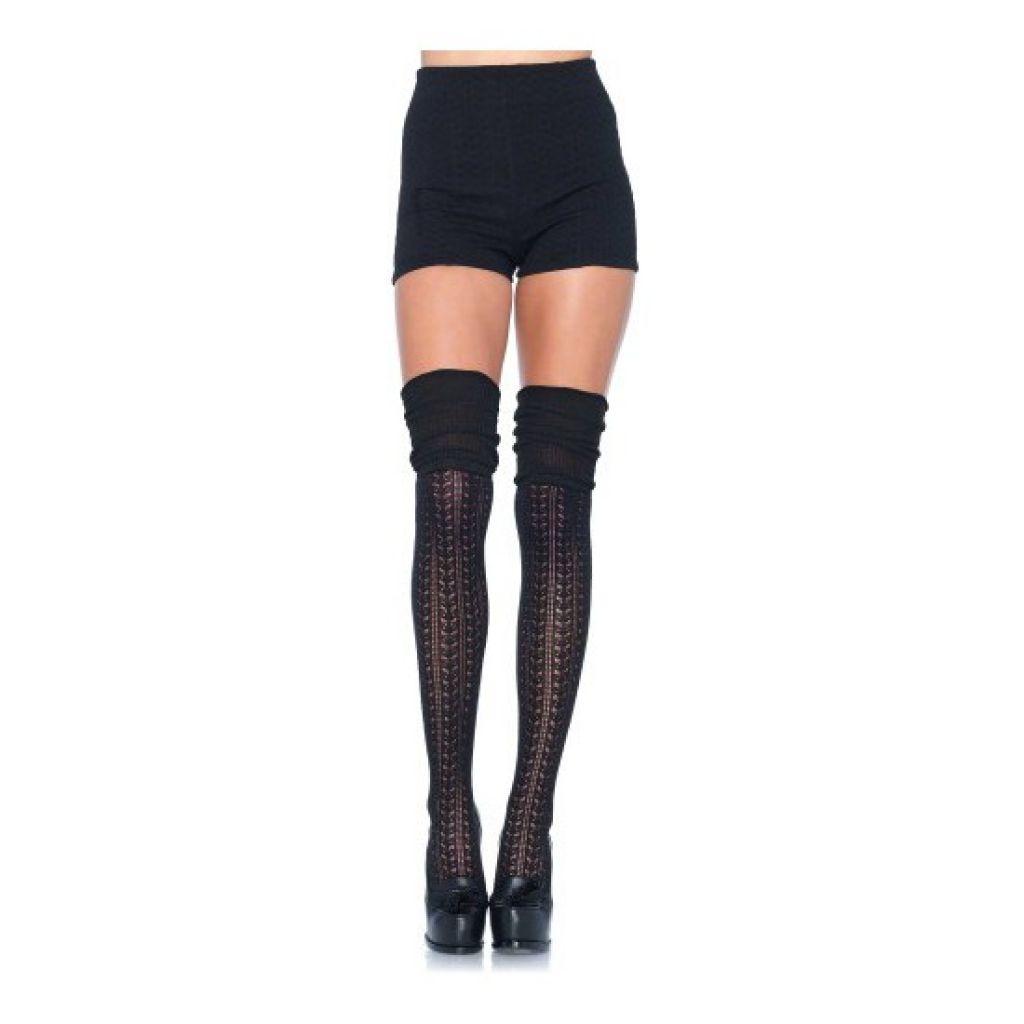 Calcetines puntilla fruncidos negro