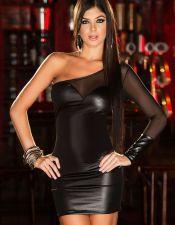 Vestido con escote en diagonal y espalda semidescubierta VES00167