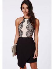 Vestido negro y blanco con encaje VES00170