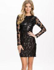 Vestido negro con precioso brocado de lentejuelas VES00173