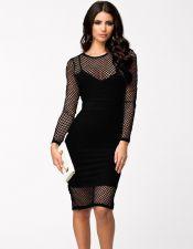 Vestido negro con red sobrepuesta VES00177